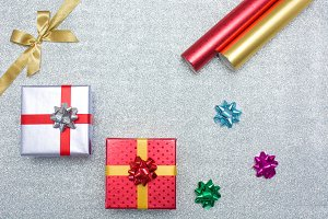 Gift boxes and Christmas decoration
