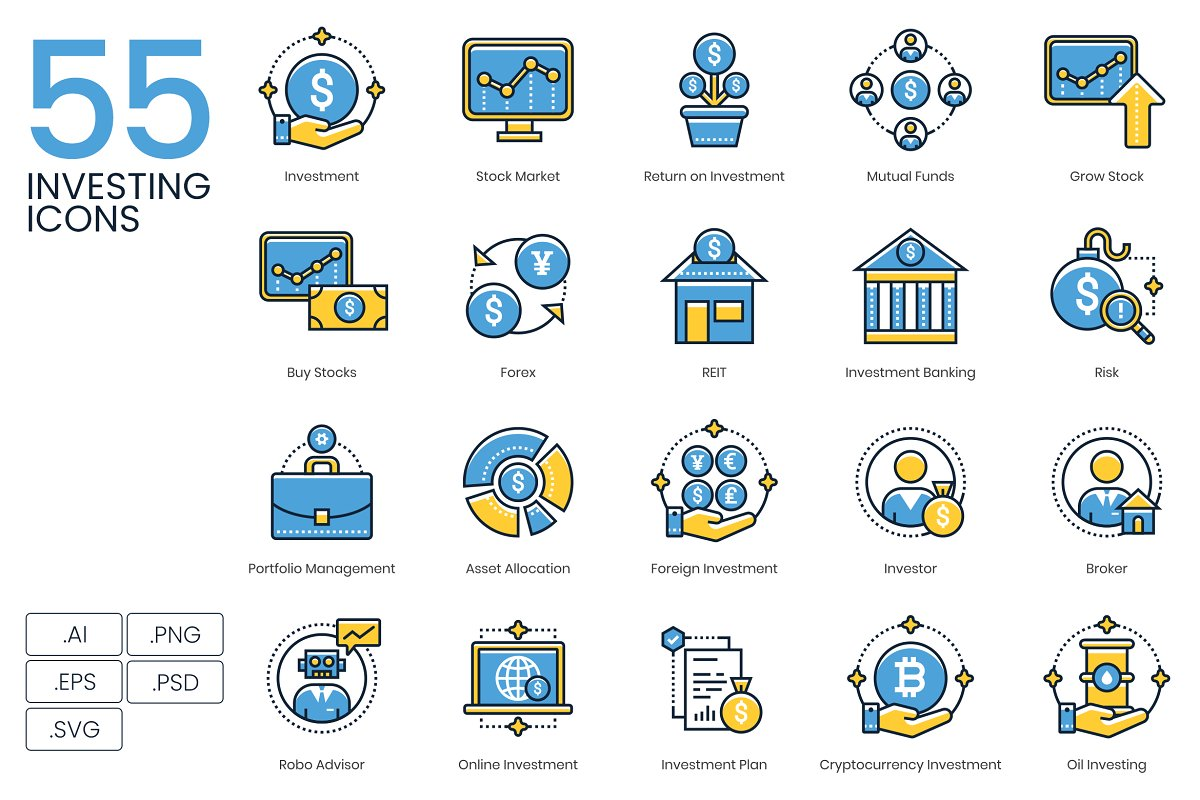 55 Investing Icons | Kinetic Series