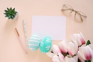 Happy Easter concept with blank card