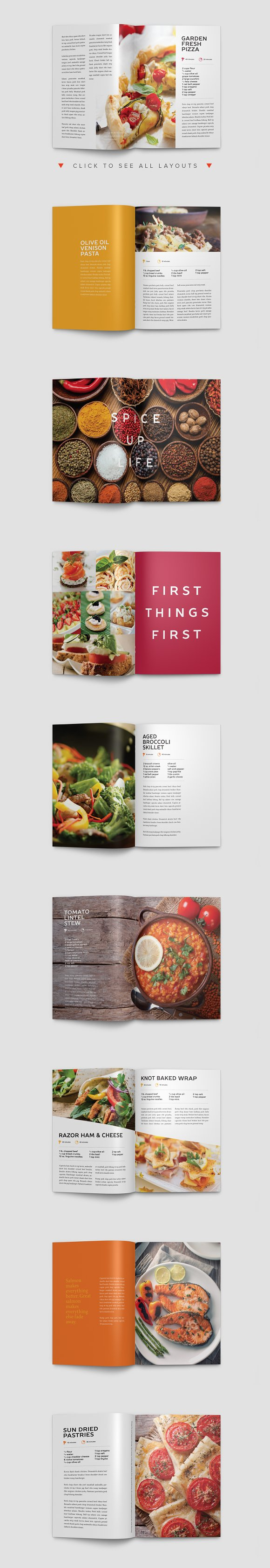 Modern Cookbook InDesign Template Brochure Templates Creative Market - Adobe indesign cookbook template