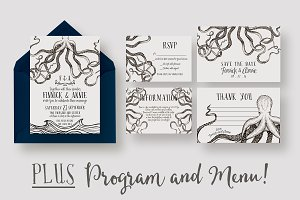 Octopus Wedding Invitation Suite