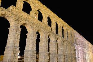 Night view of aqueduct of Segovia.