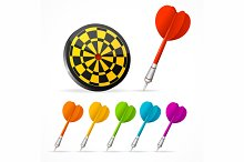 Set of colored Darts and target