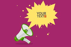 Megaphone text bubble card set