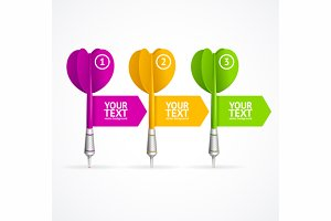 Set of darts option banner. Vector