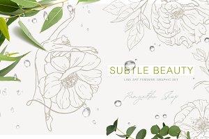 Subtle beauty. Line art vector set