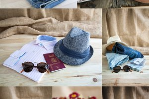 Collage of Set of various clothes an