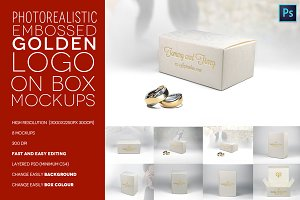 Embossed Golden Logo on Box Mockups