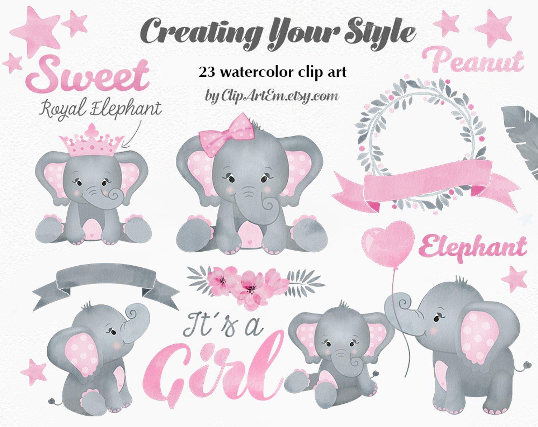 Baby Girl Pink Elephant Clipart set   Custom-Designed ...