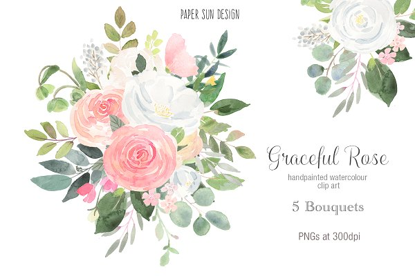 Graceful Rose Clip Art - 5 Bouquets