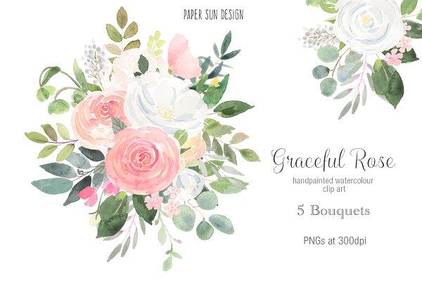 Graceful Rose Clip Art - 5 Bouquets