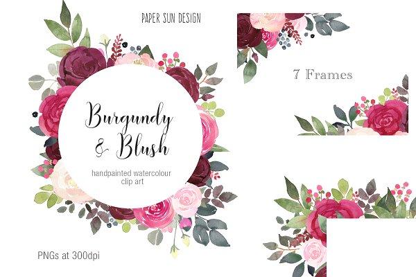 Clipart Frames - Burgundy and Blush