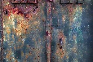 Rusted Old Sheet Metal Closed Door