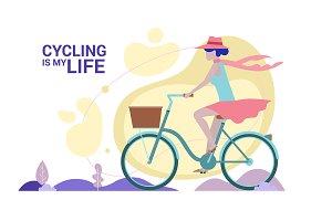 Woman enjoying cycling. Flat style.