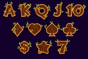 Set Wooden Slot machine icons