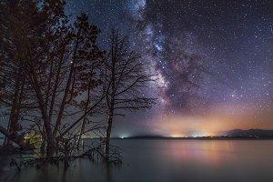 Milky way galaxy on the lake.