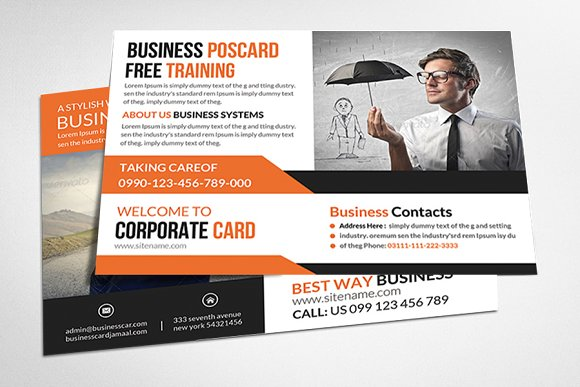 Corporate business agency postcard card templates creative market colourmoves