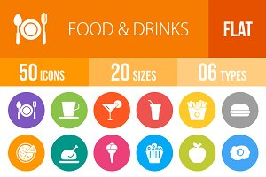50 Food & Drinks Flat Round Icons