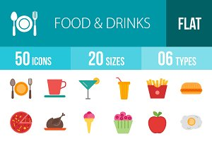 50 Food&Drinks Flat Multicolor Icons