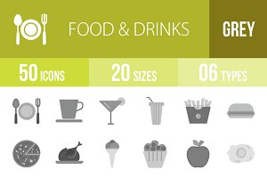 50 Food & Drinks Greyscale Icons