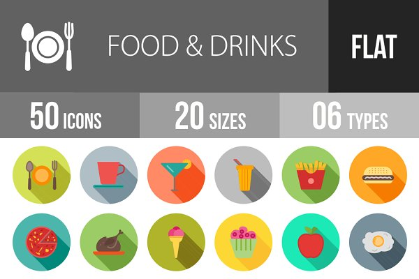 50 Food & Drinks Flat Shadowed Icon…