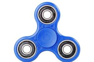 Blue Fidget Spinner on white backgro