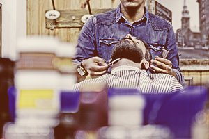 barber reflected in a mirror
