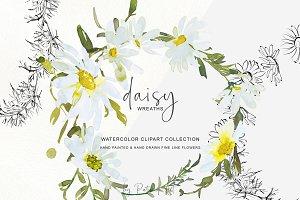 Watercolor Daisy Wreath Clip Art