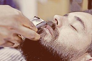 shaving a moustache