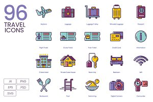 96 Travel Icons | Lilac Series