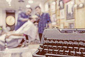 vintage typewriter on a barber shop