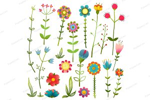 Colorful Cartoon Wild Flowers