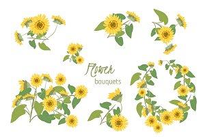 Flora sunflower retro vintage