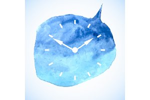 The watch dial on watercolor spot