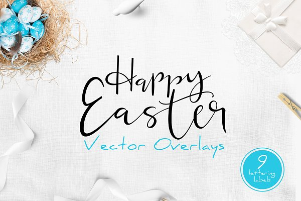 Happy Easter Lettering Overlays