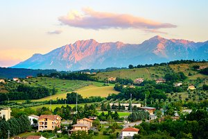 Landscape with village. Italy