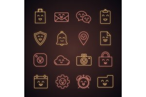 Smiling items neon light icons set