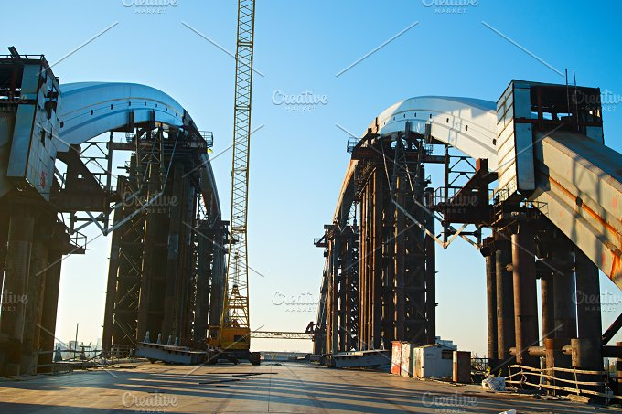 Bridge construction. Kiev, Ukraine - Architecture