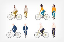 People riding bicycle set by  in Illustrations
