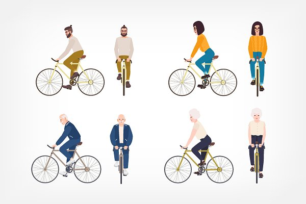 Illustrations: Good_Studio - People riding bicycle set