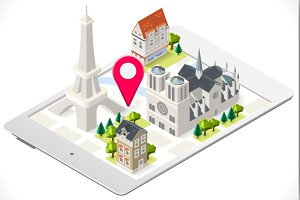 Paris 3D Map on Tablet