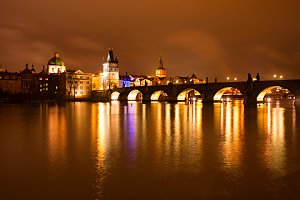 Charles bridge night view, Prague