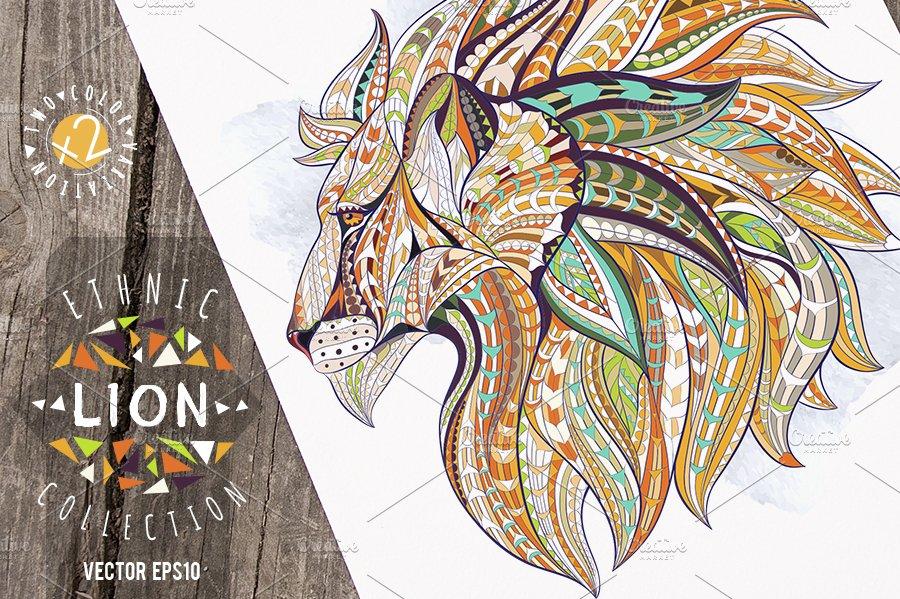 ethnic collection lion illustrations creative market