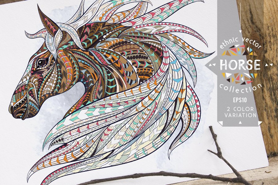 Ethnic Collection Horse Illustrations Creative Market