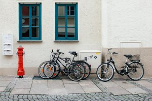 Bicycles on the street in Fussen