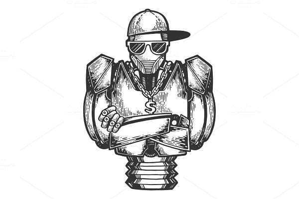 Cyborg robot rapper sketch engraving