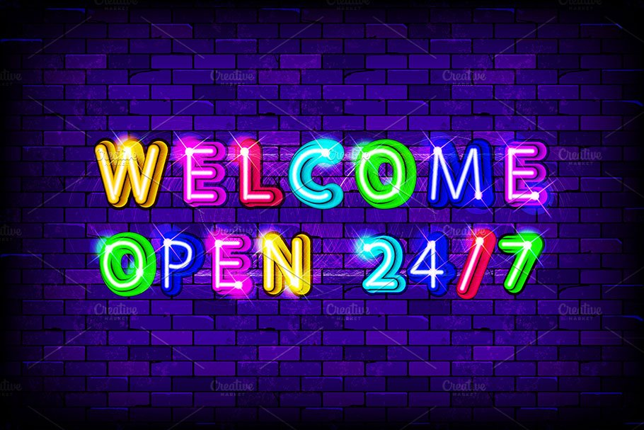 Welcome open 24 hours neon sign