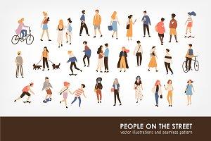 People on the street set, seamless