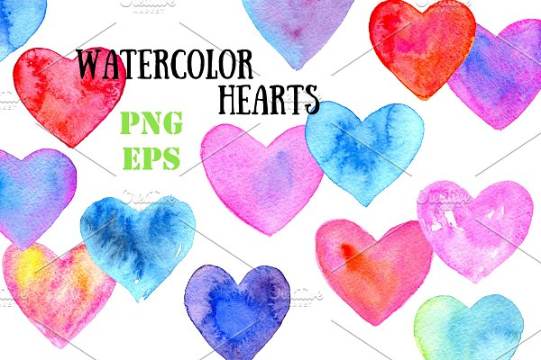 Watercolor hearts N2
