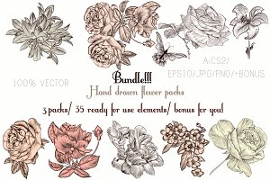 Bundle of engraved flowers